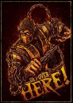 Mortal Kombat Scorpion Get Over Here Art Mortal Kombat Comics, Mortal Kombat Xl, Scorpion Mortal Kombat, Mortal Kombat Wallpapers, Zero Wallpaper, King Of Fighters, Video Game Art, Game Character, Zombies