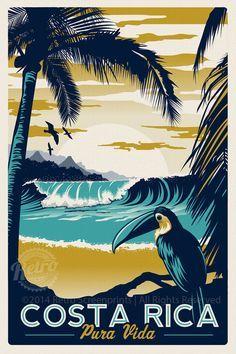 Costa Rica Impression d'écran Rétro Vintage Travel Poster - Costa Rica Retro Vintage voyage affiche Toucan Wave Surf palmiers d'écran impression – Etsy - # Retro Vintage, Photo Vintage, Vintage Style, Kunst Poster, Vintage Travel Posters, Stretched Canvas Prints, Screen Printing, Original Artwork, Illustrations