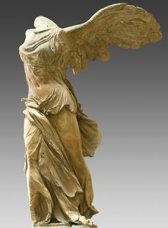 """The Nike of Samothrace is one of the defining pieces of the Hellenistic era.Originally it stood within the sculptural setting of a ship's prow,a pool of water and boulders.What makes her unique is a tour-de-force of dramatic action.She seems to be in the act of alighting-just """"touched down,""""her wings still unfurled,but we can see that slight wrenching movement in her hips which characterizes the body when landing.The skill of the artist can be seen in the clinging nature of her sheer…"""