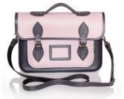 Pink and Graphite Leather Satchel