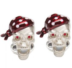Sir Jack's Sterling Silver Pirate Skull & Ruby Eyes Cufflinks | SIR JACK'S
