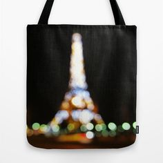 Night in Paris Tote Bag Paris Bokeh Black Tote Eiffel by MGMart