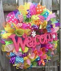 Welcome Wreath Spring Deco Mesh Wreath by WelcomingWreathsMore Diy Spring Wreath, Mesh Wreaths Summer, Easter Wreaths, Holiday Wreaths, Summer Deco, Deco Wreaths, Ribbon Wreaths, Burlap Wreaths, Welcome Wreath