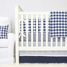 A classic navy blue and white gingham is the perfect compliment to a rustic nursery!