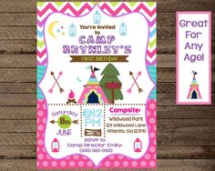 Girl camping birthday invitation diy printable camp birthday camping birthday invitation girls camping invite birthday party invite printable invite glamping camping birthday theme 1st birthday by injoyprints filmwisefo
