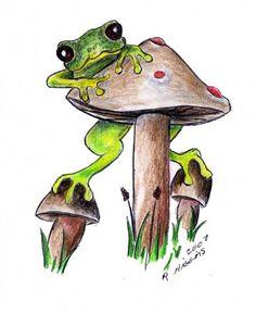 Frog & Mushroom By RHiggins Pop Art Pictures, Frog Pictures, Pictures To Draw, Animal Pictures, Funny Frogs, Cute Frogs, Frog Rock, Frog Drawing, Frog Tattoos