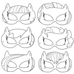 My Little Pony Printable Black and White Line Art Masks