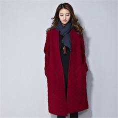 2017 new autumn and winter fashion vintage loose long-sleeved cardigan jacket and long sections loose coat