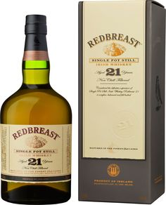 Redbreast 21 Year Old Single Pot Still Irish Whiskey. Made from malted and unmalted barley, this #whiskey was named the Irish Whiskey of the Year by #Whisky Advocate. | @Caskers
