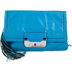 Pre-owned Diane von Furstenberg Harper Large Envelope Clutch (4 015 UAH) ❤ liked on Polyvore featuring bags, handbags, clutches, blue, leather hand bags, blue purse, envelope clutch bag, tassel clutches and leather purses