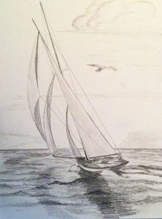 Three Sails Sailboat Original Pencil Drawing