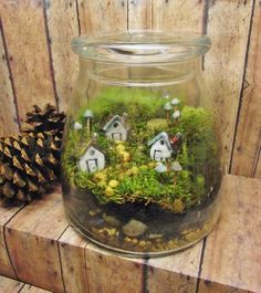 Large Miniature Landscape, Live Moss Terrarium with tiny raku fired ceramic houses and mushrooms- Handmade by Gypsy Raku on Wanelo