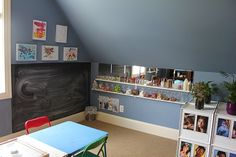 Reggio-inspired art space. Love the display of the art-materials in matching jars