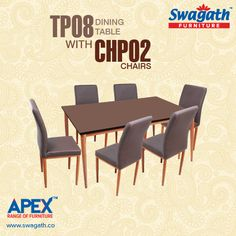 Swagath's APEX range of #furniture has launched executive class TP08 dining #table with CHP02 #chairs which can give your dining room a royal look!!