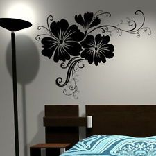 CORNER FLOWER WALL STICKER interior home floral transfers vinyl decal decor FL50