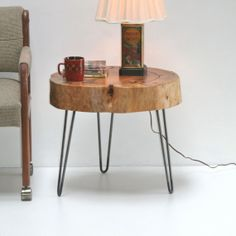 Stump Tree Slice Side Table Eco-Friendly with Minimalist Steel Hairpin Legs Coffee Furniture on Etsy, $595.00
