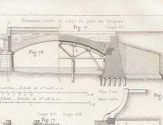 1872 French Antique Technical Drawing Ilmenau Bridge By Carambas