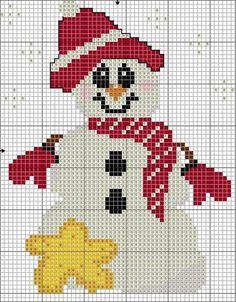 Cross Stitch Free Snowman And Star Cross Stitch Chart Xmas Cross Stitch, Cross Stitch Christmas Ornaments, Cross Stitch Needles, Beaded Cross Stitch, Christmas Cross, Cross Stitch Charts, Cross Stitch Designs, Cross Stitching, Cross Stitch Embroidery