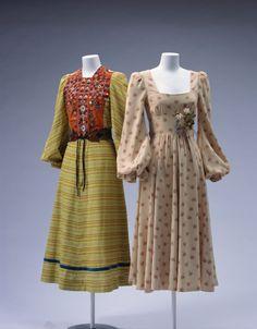 Dresses Thea Porter (left), BIBA (right), 1970-1971 The Kyoto Costume Institute