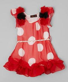Red & White Dot Chiffon Dress - Infant, Toddler & Girls #zulily #zulilyfinds