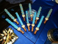 Awesome chocolate pretzel rods at a royal baby shower party! See more party planning ideas at CatchMyParty.com!