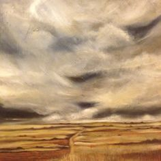 The bottom of a 2 m portrait style landscape of the free state sky. Artist Debbie Dewey