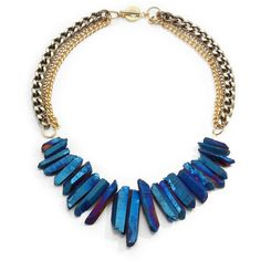 Janna Conner Rock Crystal Fringe Multi-Chain Necklace/Blue (24.220 HUF) ❤ liked on Polyvore featuring jewelry, necklaces, accessories, colares, jewels, rock crystal necklace, layered chain necklace, multi-chain necklace, 14k necklace and iridescent necklace
