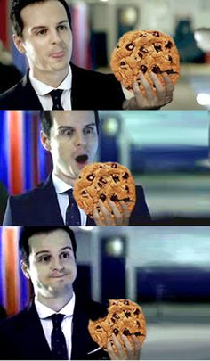 Teehee How is that cookie Moriarty? lol I haven't watched Sherlock yet but this made me giggle!