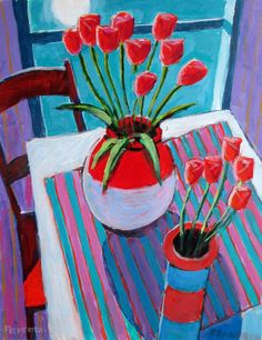 Tulips at Midnight - 20x16 Still Life Painting by Jim Flanagan - NUMA Gallery Such beautiful and vibrant colors, which the soft peaceful glow of the moonlight. This painting makes me feel so nostalgic and wistful.