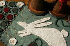 Spring  Penny Rug Wool Felt Finished Design  by TwistedKnickersInc