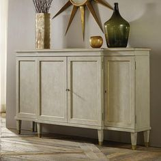Shop the Garry Modern Classic Antique Grey Sideboard Buffet and other Buffets & Sideboards at Kathy Kuo Home Grey Round Dining Table, Pine Bookcase, Low Sideboard, Iron Shelf, Gold Wood, Modern History, Interior Design Services, Adjustable Shelving, Modern Classic