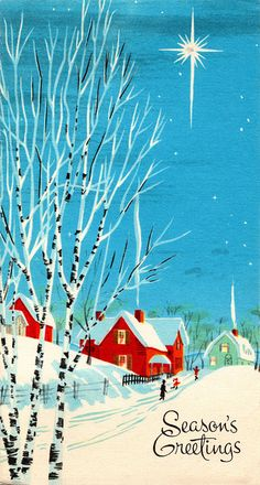 Vintage 1960s Christmas Card - Snowy Street & Village #vintage #retro #christmas #card #illustration #snow
