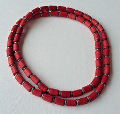 Aarikka Finland Vintage Necklace  Red Wood Beads and Silver Toned Metal Parts #Aarikka #Beaded