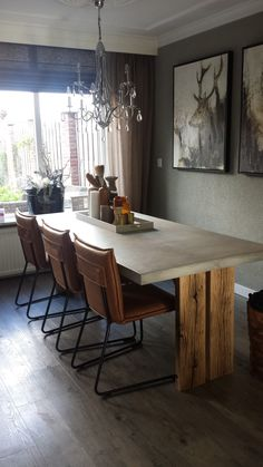 Tafel Meester on the webshop.   Concrete and old wooden legs. Seats: Jessdesign.  @Lijn M