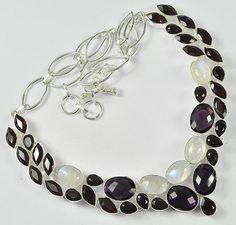 "AMETHYST, RAINBOW MOONSTONE GEMSTONE .925 SILVER JEWELRY NECKLACE SIZE 18""  #Handmade #Necklace"