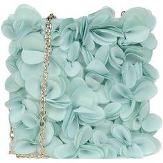 Blumarine Small Fabric Bag ($155) ❤ liked on Polyvore featuring bags, handbags, clutches, borse, purses, turquoise, man bag, green messenger bag, mini handbags and green evening bag
