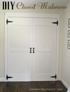 Replacing the old unattractive doors gives a hall closet a whole new outlook on life.