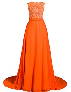 Clearbridal Women's Chiffon and Lace Long Prom Evening Dress Formal Vinatge Bridesmaid Gowns with Applique SD251 Orange UK6