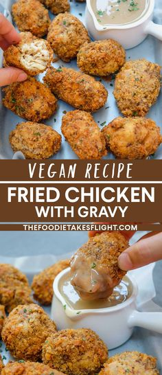 """Vegan fried """"chicken"""" and gravy recipe from Jessica Uy of thefoodietakesflight from Manila, Philippines sharing easy asian, tofu, and vegan recipes ideas Vegan Fried Chicken, Tofu Chicken, Fried Chicken Recipes, Tofu Recipes, Vegan Dinner Recipes, Delicious Vegan Recipes, Cooking Recipes, Vegan Meals, Vegetarian Recipes"""