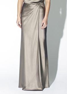 Crepe Back Satin Maxi Skirt - Mink   Skirts   Amanda Wakeley