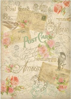 Rice Paper for Decoupage Scrapbook Craft Sheet - Vintage Postcards
