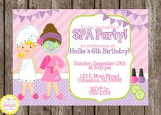 PRINTABLE Spa Party Birthday Invitation by HilltopCustomDesigns, $8.00