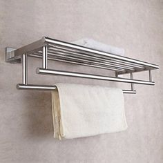 KES A2112-2 Shelf with Towel Rack Minimalist Stainless Steel Towel Rack with Two Towel Bars Wall Mounted, Brushed Steel