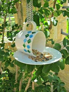 Cup and plate bird feeder decorate the cup and glue it to the plate and put some bird seed to go with it