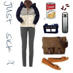sick day work day by pichimichiko on Polyvore featuring MiH Jeans, Office, Replay, Gap, loafers, hoodie, campbells, meds and watertheraphy
