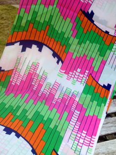 60s vintage mod retro fabric. Made in Sweden. Great condition. Green, pink and orange
