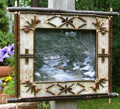 Adirondack style mirrors made from salvaged, dead birch trees and bark...