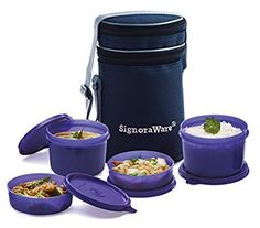 Signoraware Executive Lunch Box with Bag 15cm Deep Violet @ Rs.408