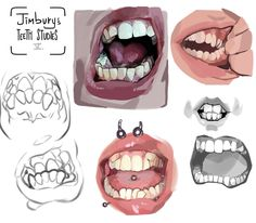 Drawing Faces Tips Tutorials - Digital Painting Tutorials, Digital Art Tutorial, Art Tutorials, Art Reference Poses, Drawing Reference, Teeth Drawing, Drawing Faces, Art Studies, Drawing Techniques