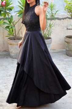 Black Padded Double Flair Embroidered Dress is part of Dresses - Indian Gowns Dresses, Sexy Dresses, Fashion Dresses, Girls Dresses, Prom Dresses, Elegant Dresses, Nice Dresses, Formal Dresses, Indian Designer Outfits